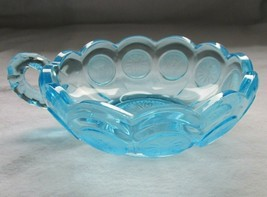 Elegant Vintage Fostoria Blue Coin Glass Handled Trinket Bowl Candy Dish  - $12.86