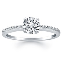 14k White Gold Engagement Ring with Pave Diamond Band - $2,100.00