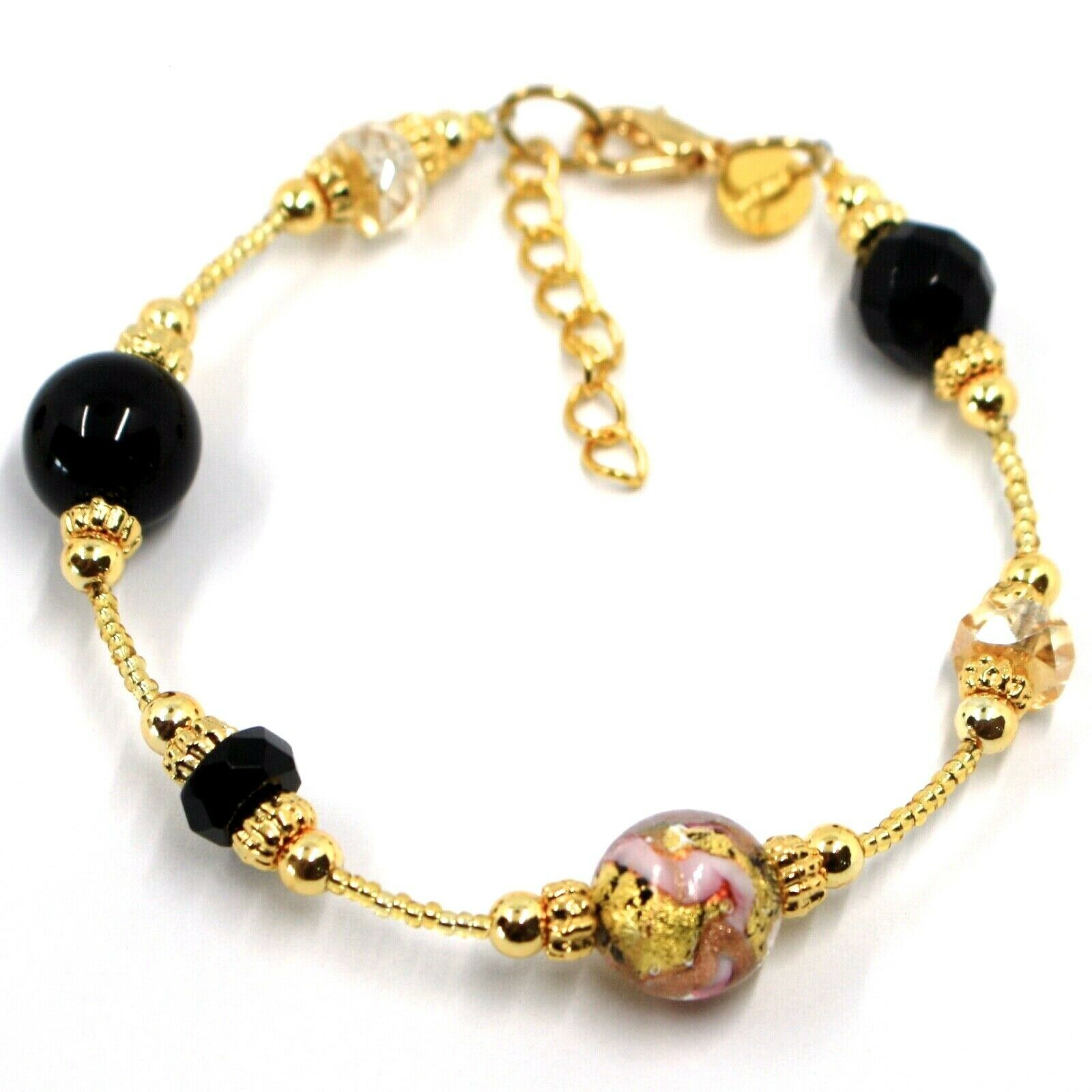 BRACELET PINK & YELLOW STRIPED MURANO GLASS SPHERE & GOLD LEAF, MADE IN ITALY