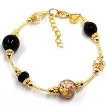 BRACELET PINK & YELLOW STRIPED MURANO GLASS SPHERE & GOLD LEAF, MADE IN ITALY image 1