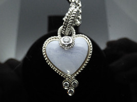 Judith Ripka Sterling Blue Lace Agate Cubic Zirconia Enhancer Pendant Ne... - $104.97