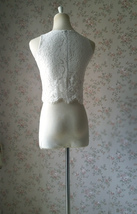 White Sleeveless Lace Tank Tops Bridesmaids Lace Top Crop Top Plus Size Lace Top image 6