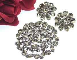 STUNNING Juliana Style Smokey Rhinestone Tiered Brooch And Earrings Set - $74.95