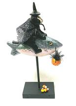 Handmade Cat Witch Riding A Fish Pumpkin Pail Candy Corn Halloween Recre... - $49.01