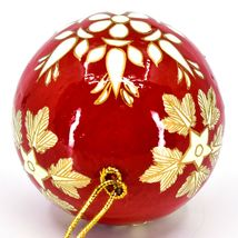 Asha Handicrafts Painted Papier-Mâché Red & Gold Snowflakes Christmas Ornament image 5