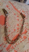 Vintage gold tone sweater collar clip grip double chain with faux pearls - $12.00