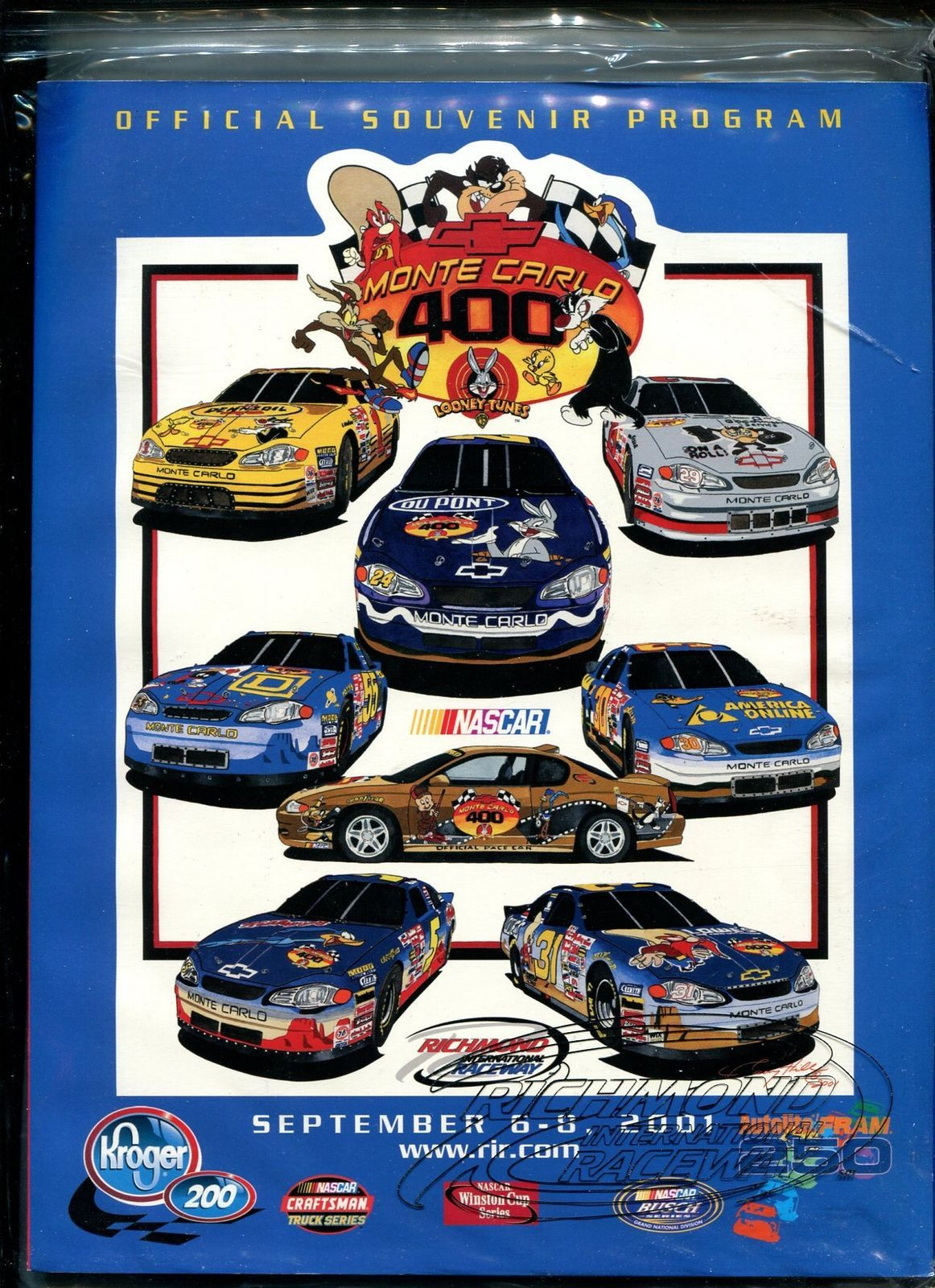 Primary image for Richmond Int'l Raceway Program-NASCAR-9/8/2001-Looney Tunes-VF/NM