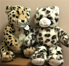 2 Build A Bear Plush Cats - Sparkly Snow Leopard + Cheetah limited WWF w... - $18.50