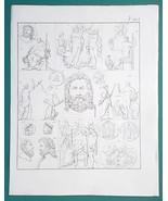 MYTHOLOGY Roman Gods Deities Zeus as Boy Warrior King - 1828 Antique Print - $13.05