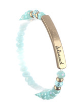 Blessed Glass Bead Christian Cross Stretch Bracelet Aqua Blue image 1