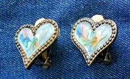 Pastel Swirl Enamel, Textured Silver-tone Heart Clip Earrings 1970s vint... - $12.30