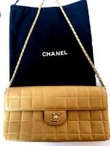 Auth CHANEL Shoulder Bag Beige Lambskin Matelasse Chocolate Bar Chain Logo B5215 - $998.91