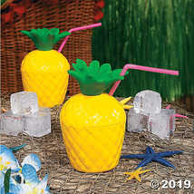 Pineapple Cups with Straws - $28.36