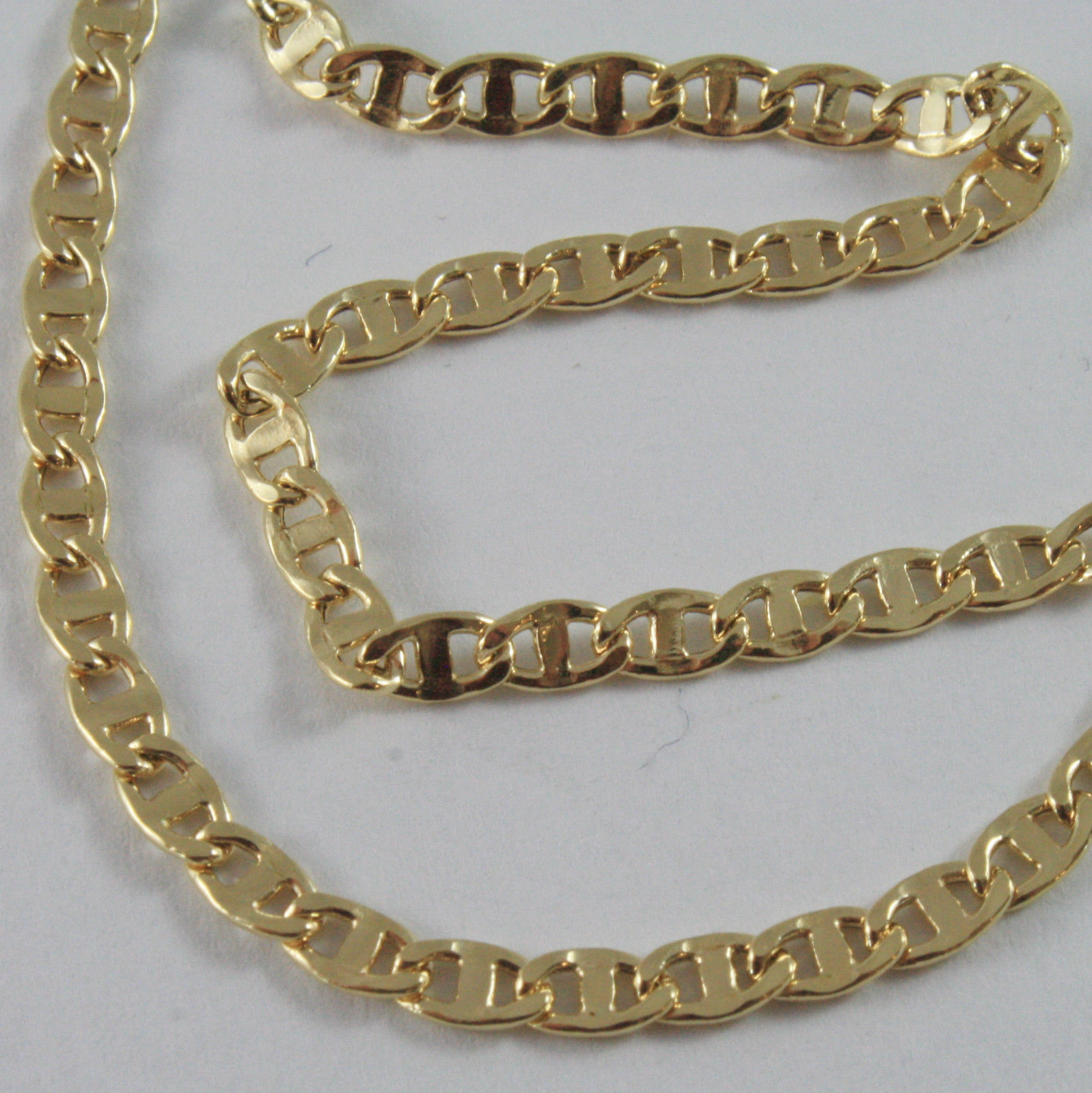 18K GOLD YELLOW CHAIN, SAILORS NAVY MARINER, FINELY WORKED, SHINY, MADE IN ITALY