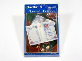 Bible Cover Bucilla 64001 The Lord's Prayer Stamped Cross Stitch Kit 1993 NIP - $14.99