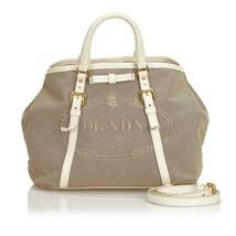Pre-Loved Prada Brown Canvas Fabric Canapa Satchel Italy - $475.74