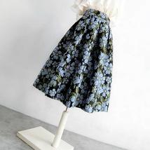 Pink Rose Flower Midi Skirt Plus Size Elegant A-line Pleated Midi Party Skirt image 11