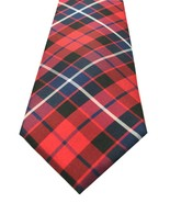 NEW MENS TOMMY HILFIGER LARGE PLAID RED 100% SILK NECK TIE $65 - $24.74