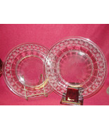 "Two (2) FOSTORIA Etched Crystal - SPARTAN Clear Pattern - 8"" PLATES - $21.95"