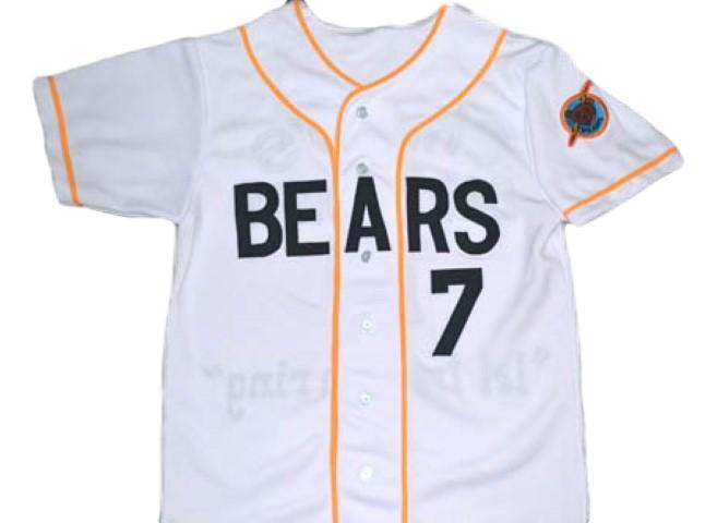 Bad news bears movie  7 button down baseball jersey white 1