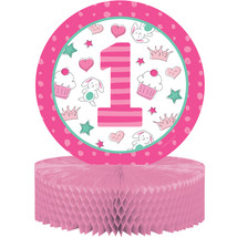 "Doodle 1st Birthday Girl 12"" x 9"" Honeycomb Centerpiece, Case of 6 - $37.06"
