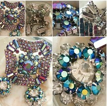 "Vintage Gorgeous Large Rhinestone Pronged Silver 2"" Pin & Earring Set SK... - €41,14 EUR"