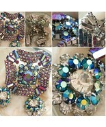 "Vintage Gorgeous Large Rhinestone Pronged Silver 2"" Pin & Earring Set SK... - $49.99"