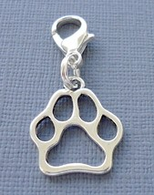 Dangle Dog Paw print Clip On Charm with Lobster Clasp Fit for Link Chain C166 - $2.96
