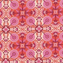 The Sultan's Garden Flowers Pink 100% cotton Fabric by the yard - $6.00