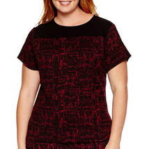 Liz Claiborne Short Sleeved Textured Top Deep Ruby Size 3X New Msrp $48.00 - $17.99