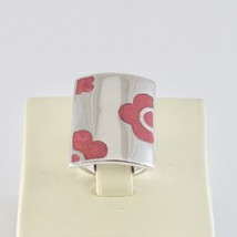 Ring Band Silver 925 Rhodium with Enamel Pink Shaped Flowers image 2