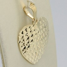 18K YELLOW GOLD HEART PENDANT, CHARMS, FINELY WORKED, CURVED, MADE IN ITALY image 2