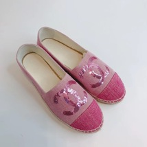 100% Authentic NEW Chanel Pink Sequin Slip On CC Logo Espadrilles Shoes Flats 37 image 2