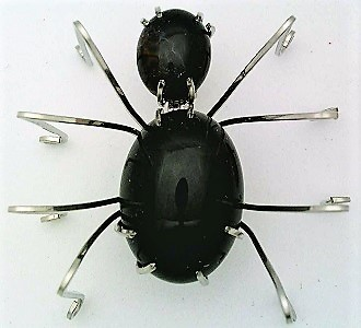 Primary image for Black Onyx Spider Stainless Steel Wire Wrap Brooch 8