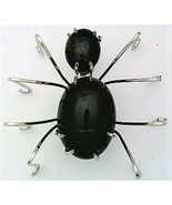 Black Onyx Spider Stainless Steel Wire Wrap Brooch 8 - $28.97