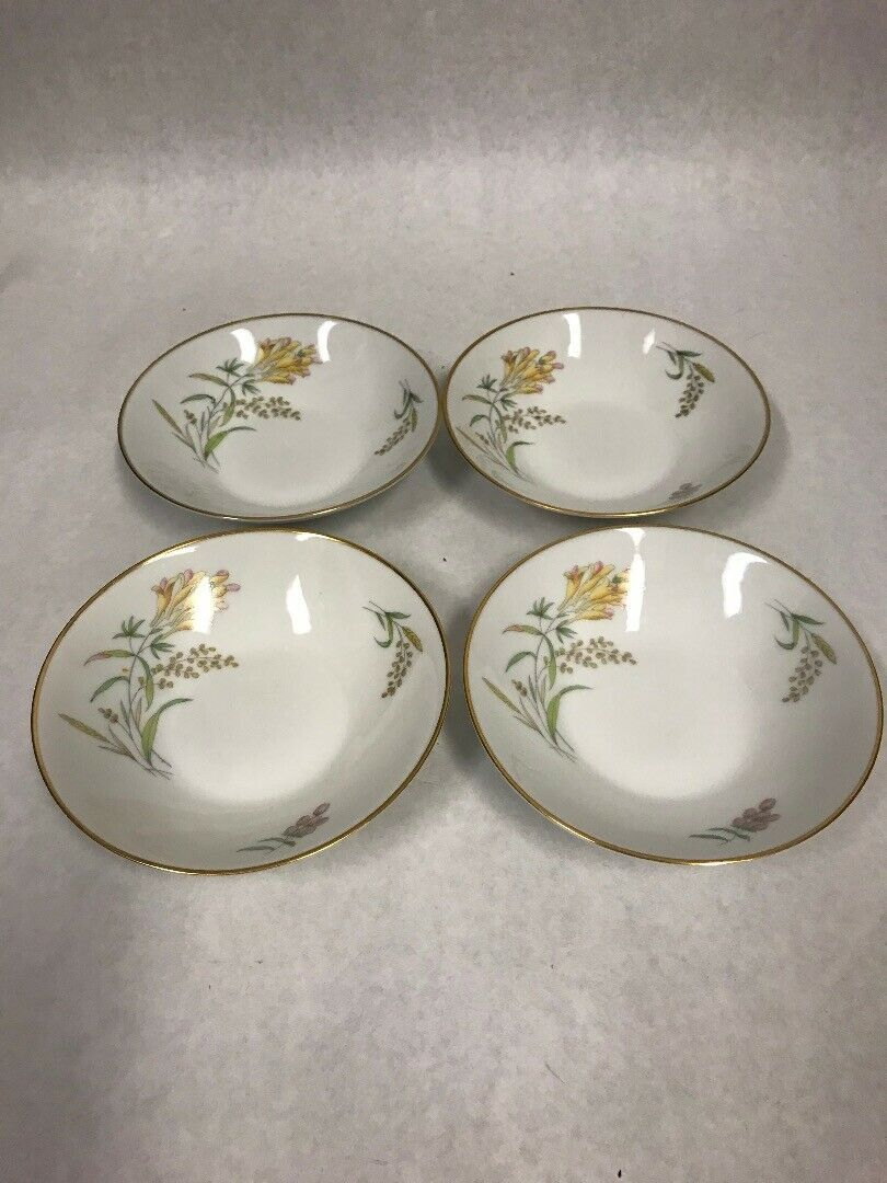Primary image for 4 pc Rosenthal Sommerbluten Summer Blossoms 56 dessert bowl 5 inch plate dish