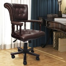 vidaXL Chesterfield Captain's Swivel Office Chair Brown Real Leather Home - $205.99