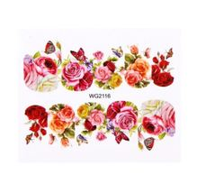 HS Store - 1Pcs WG-2116 Flower Designs Nail Sticker Water Transfer DIY - $2.23