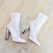 Wild Diva WHITE GROMMET BOOT SIVER HEELS Booties Boots Heeled Boots NEW - $65.00