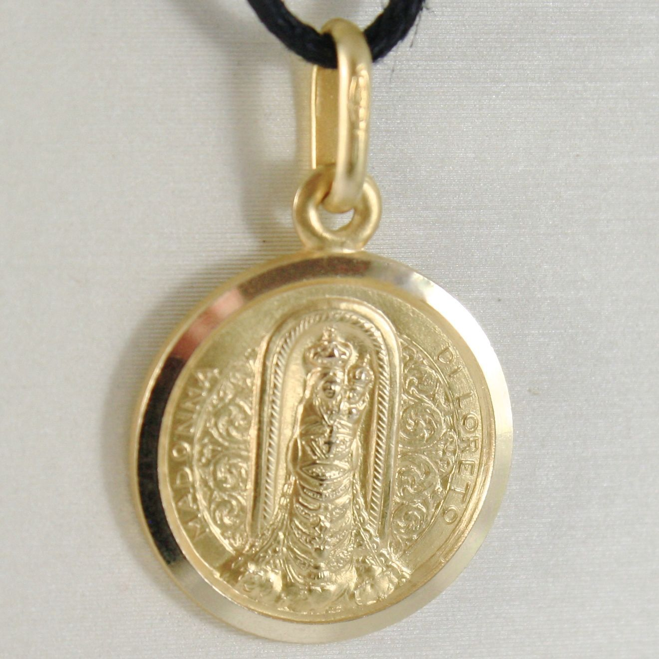 PENDANT MEDAL YELLOW GOLD 750 18K, MADONNA DI LORETO, 15 MM, MADE IN ITALY