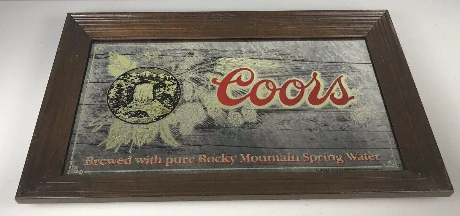 "Primary image for 1980 Vintage Wood Framed Coors Mirrored Bar Sign Waterfall Barley 26X16"" RARE"