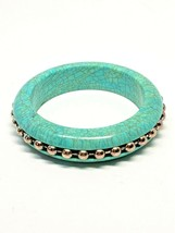 Faux Turquoise Vintage Bangle Bracelet Silver Tone Ball and Chain Insert - $22.49