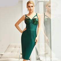 2021 New Winter Spaghetti Strap Sleeveless Bandage Dress Sexy Sequins Women Midi image 2