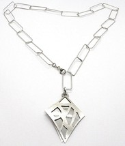 Necklace Silver 925, Chain Rectangular, Double Rhombus Overlay, Satin - $136.90