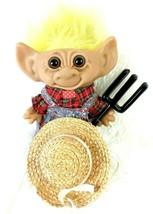 Vintage Uneeda Doll Co Farmer Troll Wishnik With Pitch Fork Hat Yellow Hair - $29.61