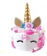 PalkSky Handmade Gold Unicorn Birthday Cake Toppers Set. Unicorn Horn, E... - $26.66
