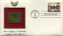 FIRST VOYAGE of COLUMBUS : Seeking Queen's Support First Day Gold Stamp ... - $5.50