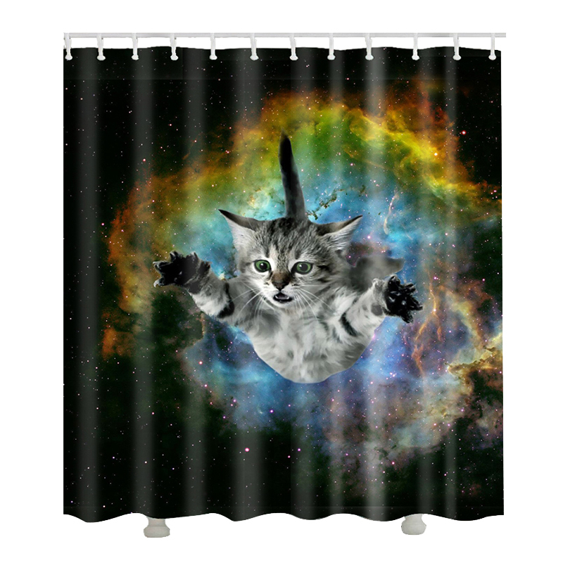 Urijk 1PC Cartoon 3D Cat Bath Curtain Bathroom Product Universe Printing Shower