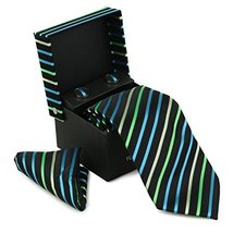 Berlioni Men's Silk Neck Tie Box Set With Cufflinks & Pocket Square (2062 - Blac