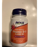 NOW High Potency Vitamin D3 -120 Softgels 5,000 IU. For Structural Suppo... - $10.89